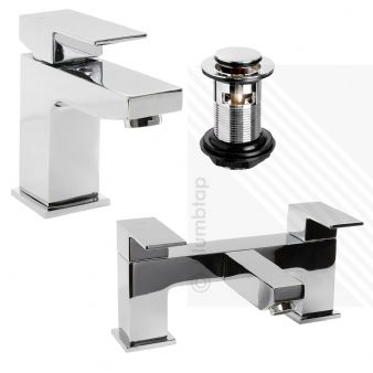 Arian 'Tulsi' Square Bathroom Basin Mixer and Bath Filler Tap Pack